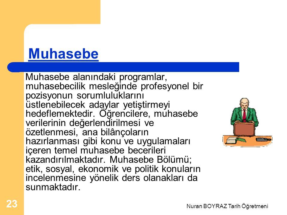 Nuran BOYRAZ Tarih Öğretmeni 23 Muhasebe Muhasebe alanındaki programlar, muhasebecilik mesleğinde profesyonel bir pozisyonun sorumluluklarını üstlenebilecek adaylar yetiştirmeyi hedeflemektedir.