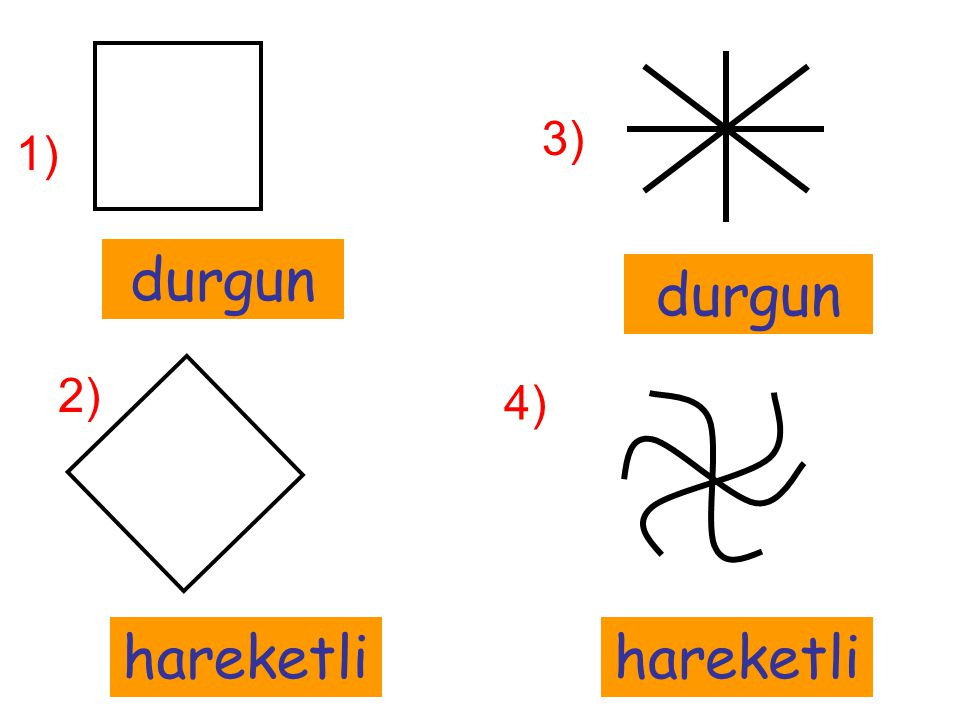 durgun 2) 1) hareketli 3) durgun 4) hareketli