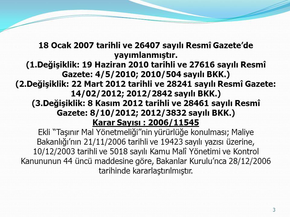 18 Ocak 2007 tarihli ve 26407 sayılı Resmî Gazete'de yayımlanmıştır. (1.Değişiklik: 19 Haziran 2010 tarihli ve 27616 sayılı Resmî Gazete: 4/5/2010; 20