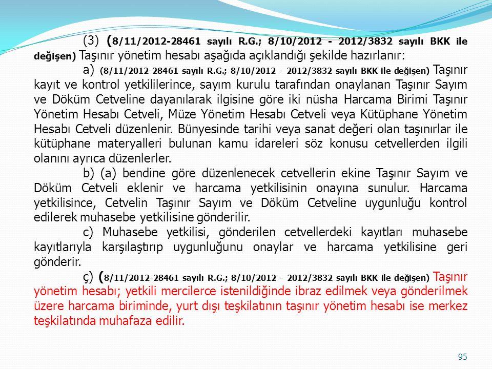 (3) ( 8/11/2012-28461 sayılı R.G.; 8/10/2012 - 2012/3832 sayılı BKK ile değişen) Taşınır yönetim hesabı aşağıda açıklandığı şekilde hazırlanır: a) (8/