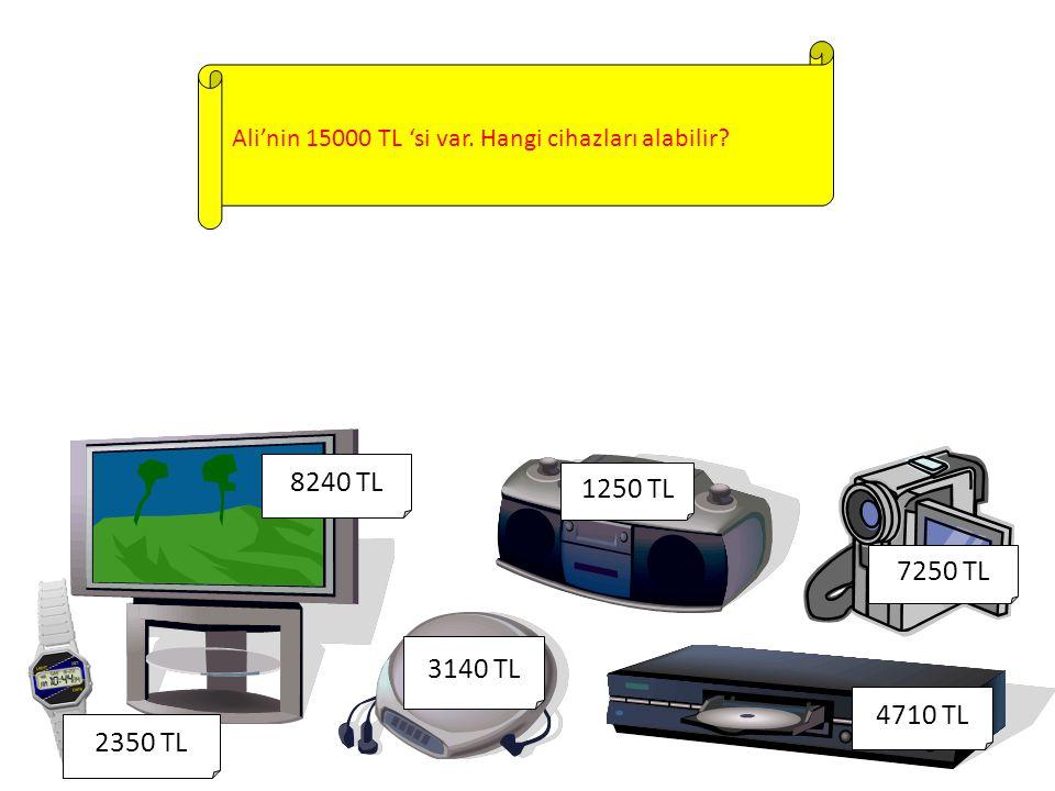 Ali'nin 15000 TL 'si var. Hangi cihazları alabilir? 1250 TL 8240 TL 4710 TL 2350 TL 3140 TL 7250 TL