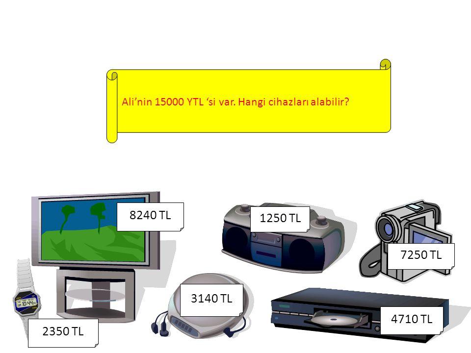 Ali'nin 15000 YTL 'si var. Hangi cihazları alabilir.