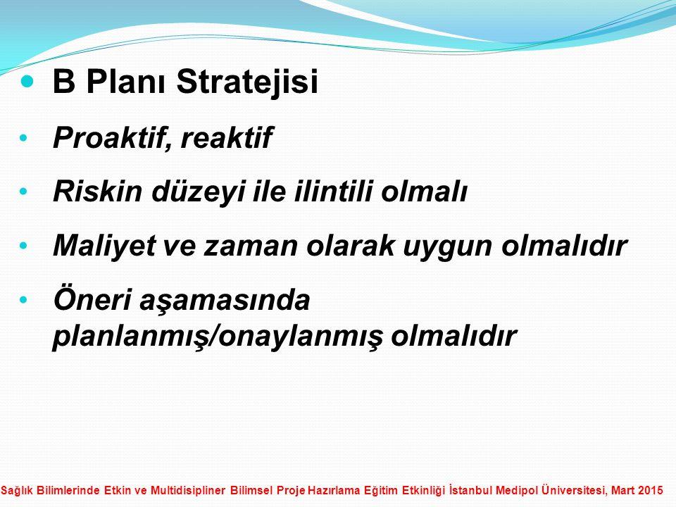 Sağlık Bilimlerinde Etkin ve Multidisipliner Bilimsel Proje Hazırlama Eğitim Etkinliği İstanbul Medipol Üniversitesi, Mart 2015 B Planı Stratejisi Proaktif, reaktif Riskin düzeyi ile ilintili olmalı Maliyet ve zaman olarak uygun olmalıdır Öneri aşamasında planlanmış/onaylanmış olmalıdır