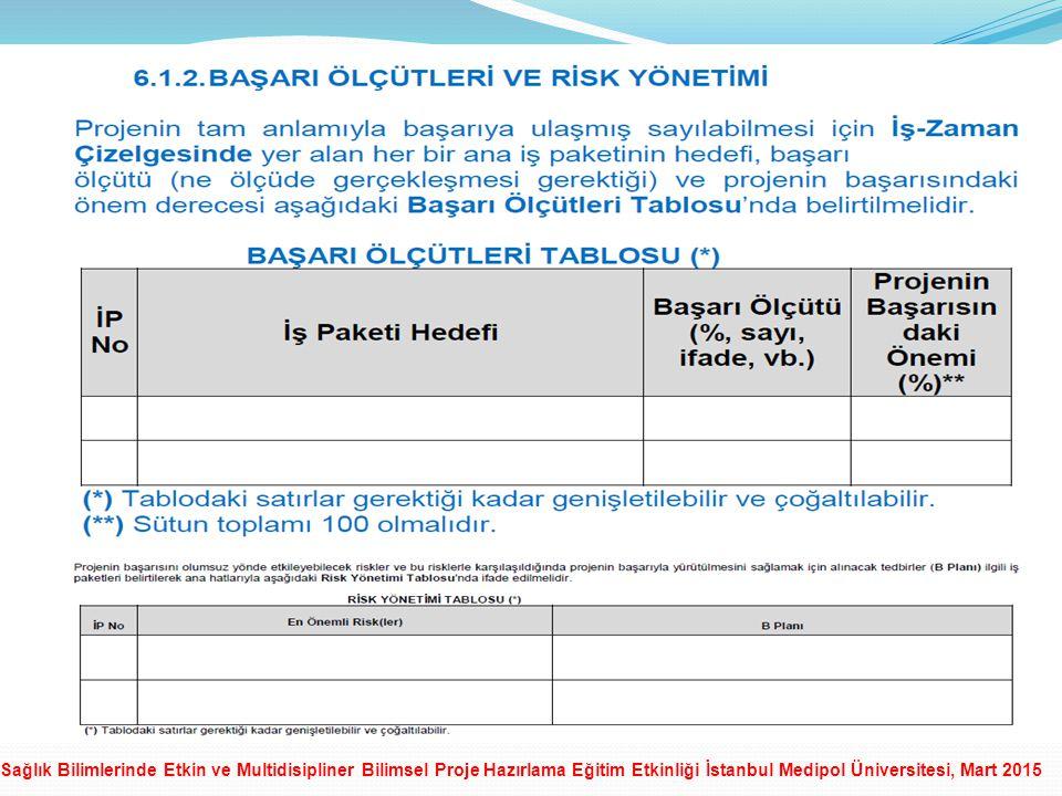 Sağlık Bilimlerinde Etkin ve Multidisipliner Bilimsel Proje Hazırlama Eğitim Etkinliği İstanbul Medipol Üniversitesi, Mart 2015