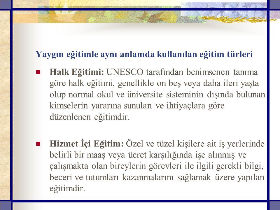 Yaygın eğitimle aynı anlamda kullanılan eğitim türleri Halk Eğitimi: UNESCO tarafından benimsenen tanıma göre halk eğitimi, genellikle on beş veya dah