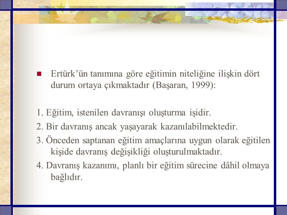 Ertürk'ün tanımına göre eğitimin niteliğine ilişkin dört durum ortaya çıkmaktadır (Başaran, 1999): 1. Eğitim, istenilen davranışı oluşturma işidir. 2.