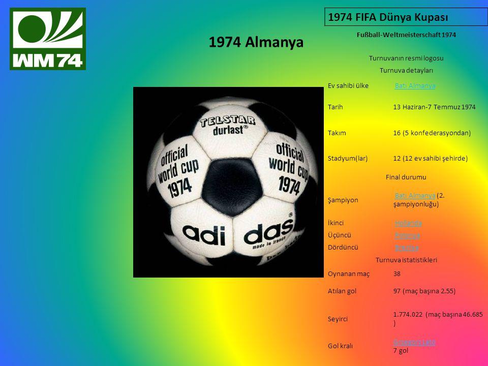 1974 Almanya 1974 FIFA Dünya Kupası Fußball-Weltmeisterschaft 1974 Turnuvanın resmi logosu Turnuva detayları Ev sahibi ülke Batı Almanya Tarih13 Haziran-7 Temmuz 1974 Takım16 (5 konfederasyondan) Stadyum(lar)12 (12 ev sahibi şehirde) Final durumu Şampiyon Batı Almanya (2.