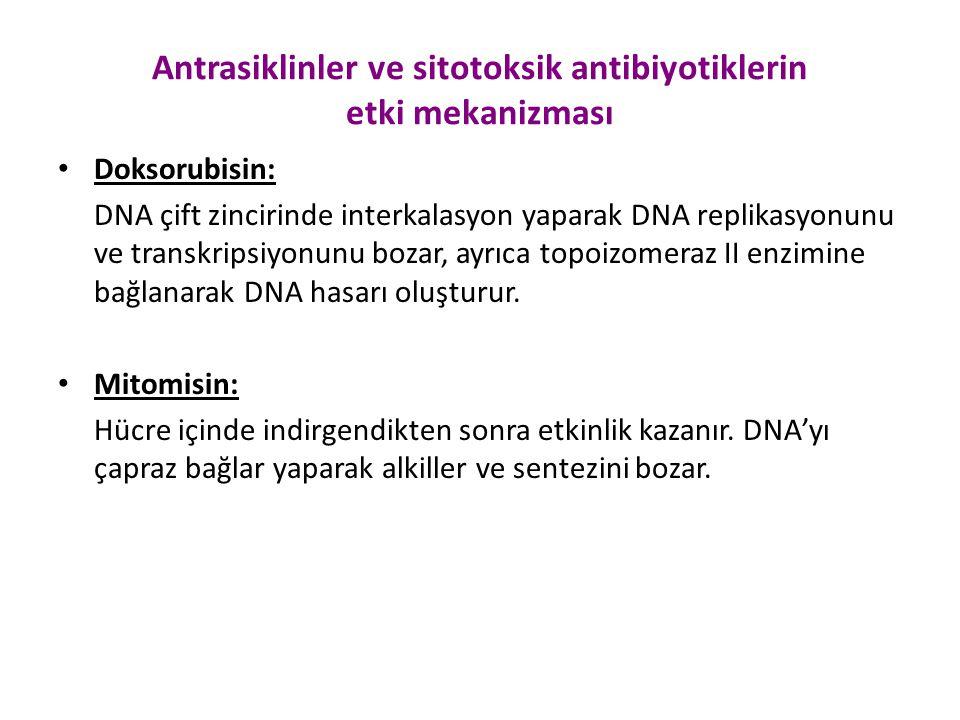 Antrasiklinler ve sitotoksik antibiyotiklerin etki mekanizması Doksorubisin: DNA çift zincirinde interkalasyon yaparak DNA replikasyonunu ve transkrip