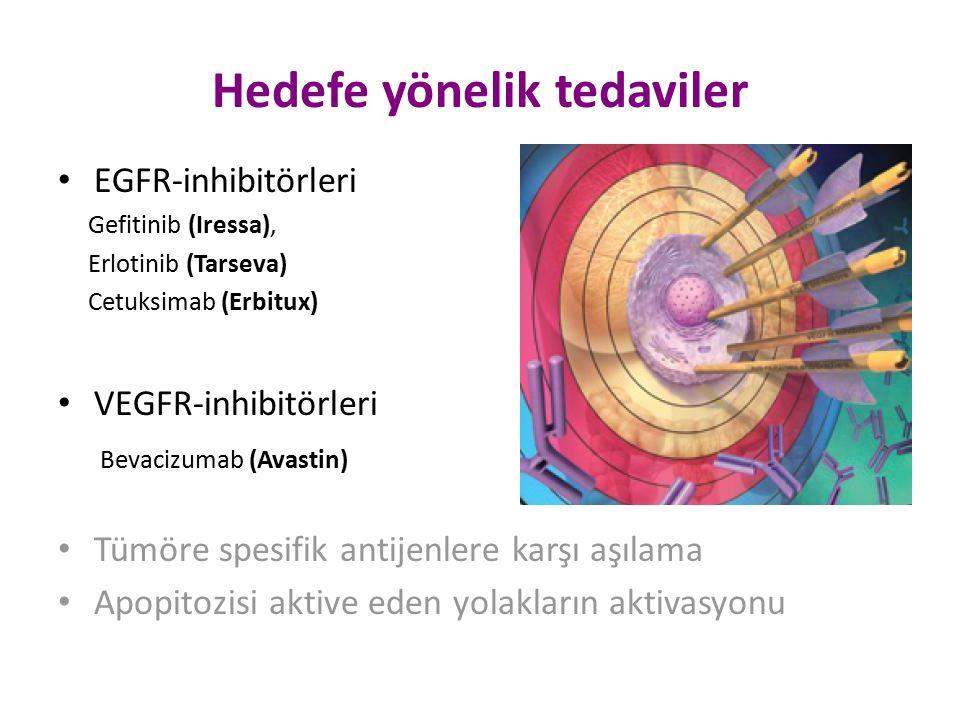 Hedefe yönelik tedaviler EGFR-inhibitörleri Gefitinib (Iressa), Erlotinib (Tarseva) Cetuksimab (Erbitux) VEGFR-inhibitörleri Bevacizumab (Avastin) Tüm