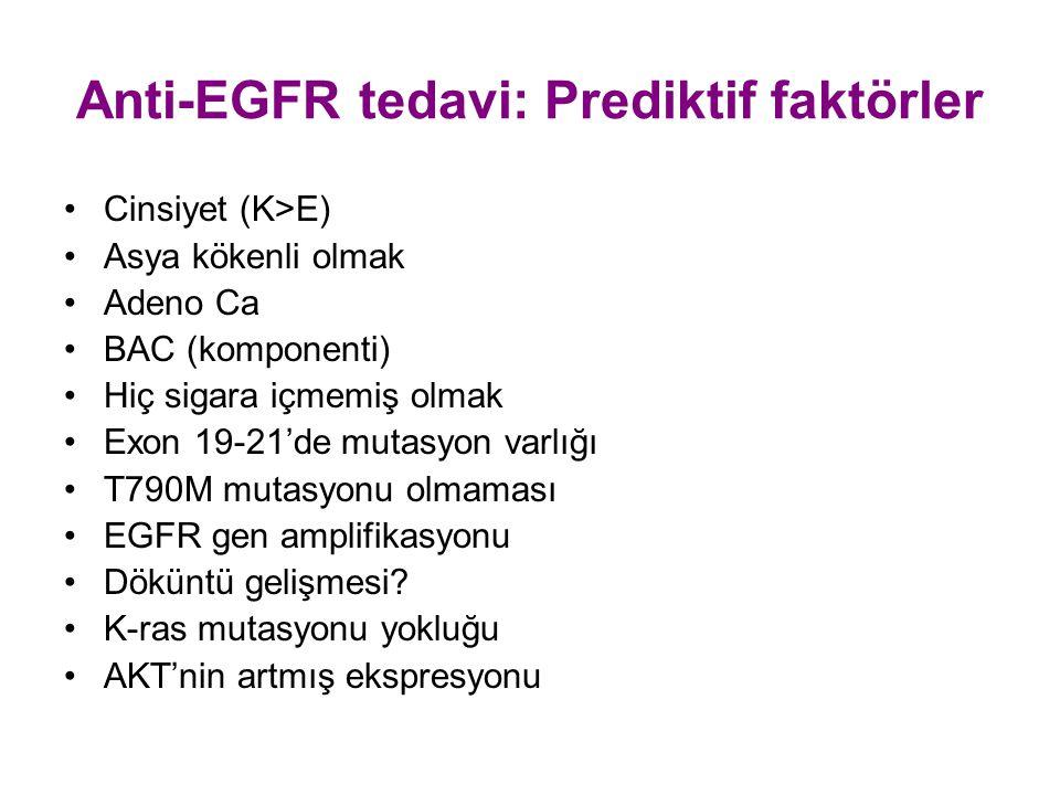 Anti-EGFR tedavi: Prediktif faktörler Cinsiyet (K>E) Asya kökenli olmak Adeno Ca BAC (komponenti) Hiç sigara içmemiş olmak Exon 19-21'de mutasyon varl