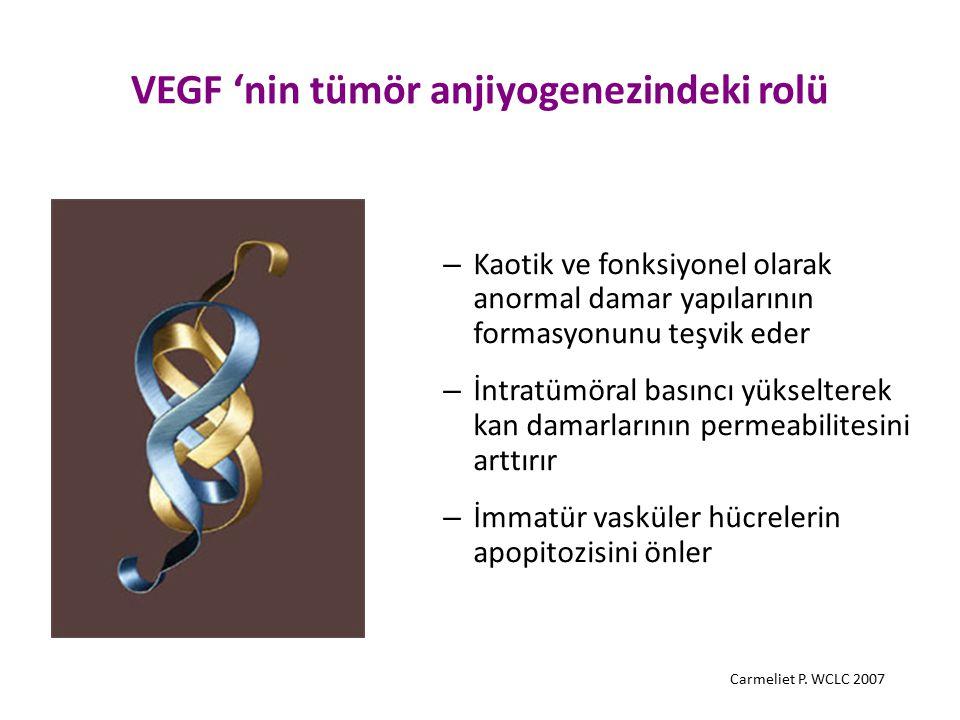VEGF 'nin tümör anjiyogenezindeki rolü – Kaotik ve fonksiyonel olarak anormal damar yapılarının formasyonunu teşvik eder – İntratümöral basıncı yüksel