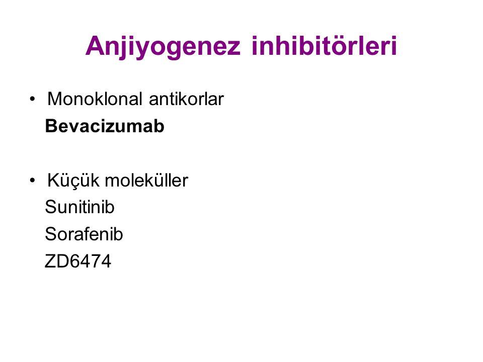 Anjiyogenez inhibitörleri Monoklonal antikorlar Bevacizumab Küçük moleküller Sunitinib Sorafenib ZD6474