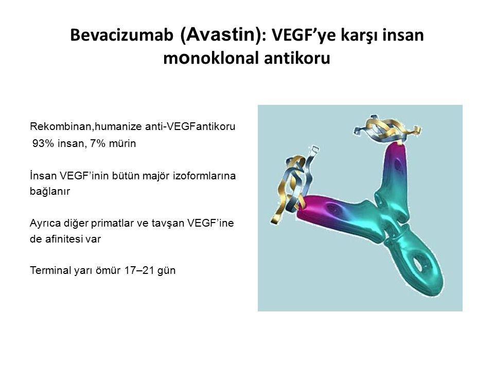 Bevacizumab (Avastin) : VEGF'ye karşı insan m o noklonal antikoru Rekombinan,humanize anti-VEGFantikoru 93% insan, 7% mürin İnsan VEGF'inin bütün majö