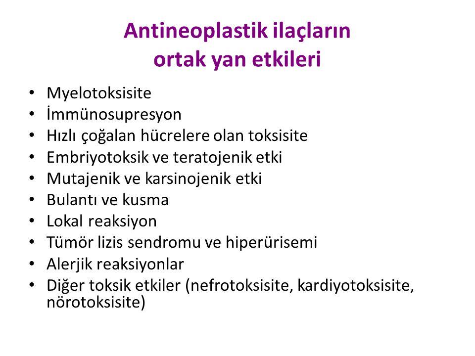 Antineoplastik ilaçların ortak yan etkileri Myelotoksisite İmmünosupresyon Hızlı çoğalan hücrelere olan toksisite Embriyotoksik ve teratojenik etki Mu