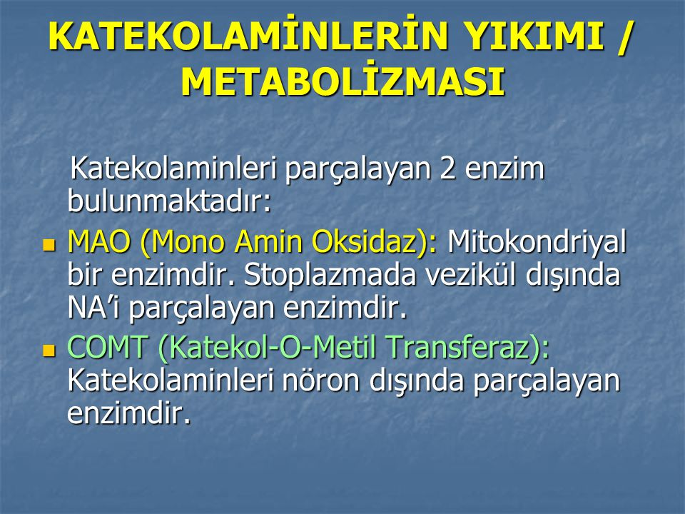 KATEKOLAMİNLERİN YIKIMI / METABOLİZMASI Katekolaminleri parçalayan 2 enzim bulunmaktadır: Katekolaminleri parçalayan 2 enzim bulunmaktadır: MAO (Mono
