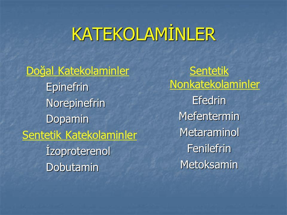 KATEKOLAMİNLER Doğal KatekolaminlerEpinefrinNorepinefrinDopamin Sentetik KatekolaminlerİzoproterenolDobutamin Sentetik NonkatekolaminlerEfedrinMefente