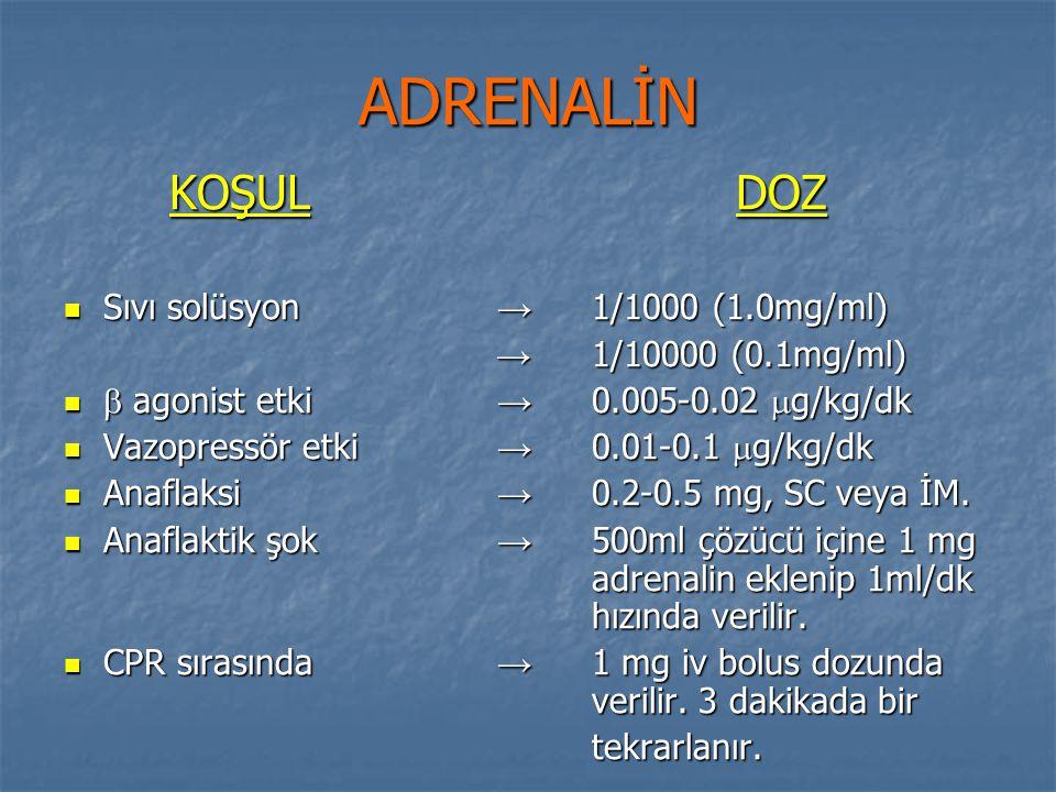 ADRENALİN KOŞUL DOZ Sıvı solüsyon → 1/1000 (1.0mg/ml) Sıvı solüsyon → 1/1000 (1.0mg/ml) → 1/10000 (0.1mg/ml) → 1/10000 (0.1mg/ml)  agonist etki → 0.0