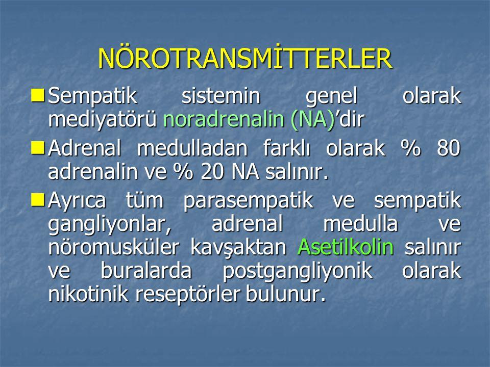 NÖROTRANSMİTTERLER Sempatik sistemin genel olarak mediyatörü noradrenalin (NA)'dir Sempatik sistemin genel olarak mediyatörü noradrenalin (NA)'dir Adr