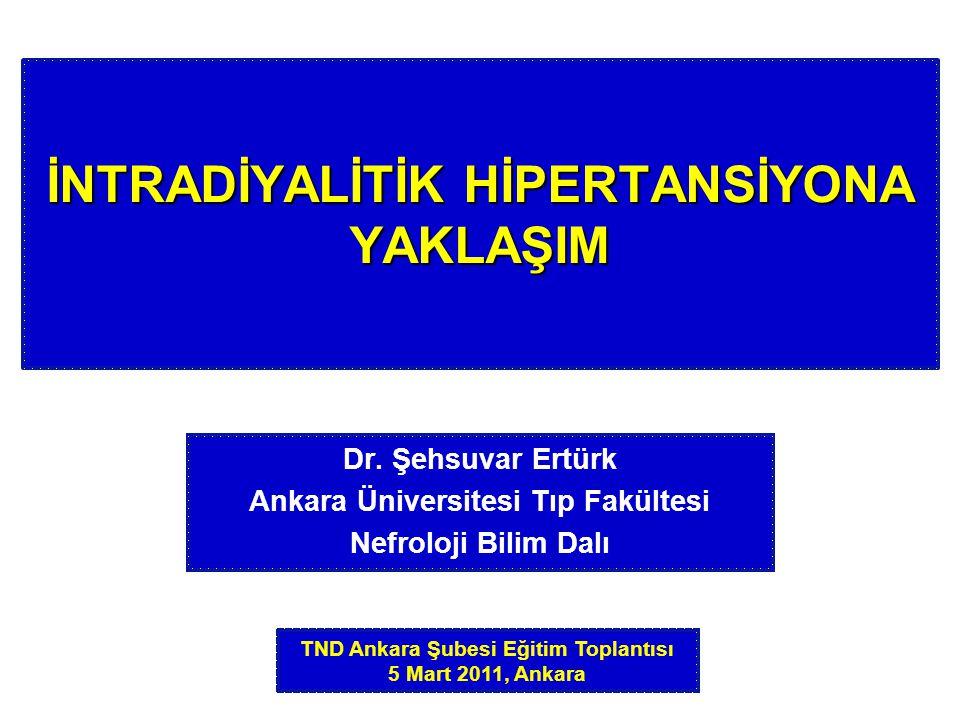 Sıklık İntradiyalitik hipertansiyonun sıklığı %10 kadardır (%5-15).