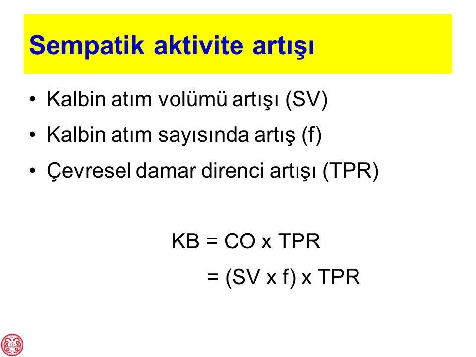 Sempatik aktivite artışı Kalbin atım volümü artışı (SV) Kalbin atım sayısında artış (f) Çevresel damar direnci artışı (TPR) KB = CO x TPR = (SV x f) x
