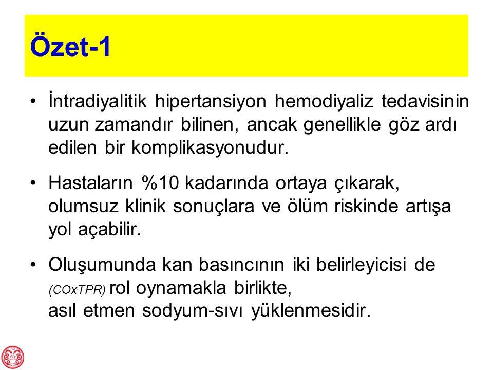 Özet-1 İntradiyalitik hipertansiyon hemodiyaliz tedavisinin uzun zamandır bilinen, ancak genellikle göz ardı edilen bir komplikasyonudur. Hastaların %