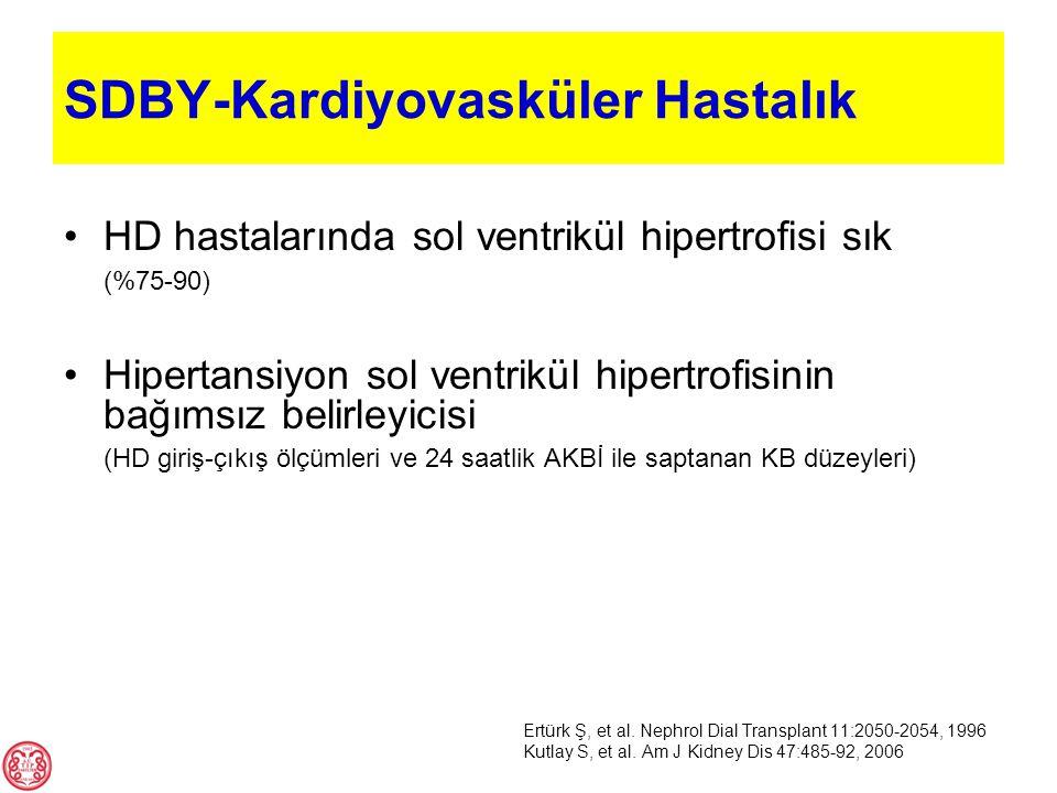 HD hastalarında sol ventrikül hipertrofisi sık (%75-90) Hipertansiyon sol ventrikül hipertrofisinin bağımsız belirleyicisi (HD giriş-çıkış ölçümleri v