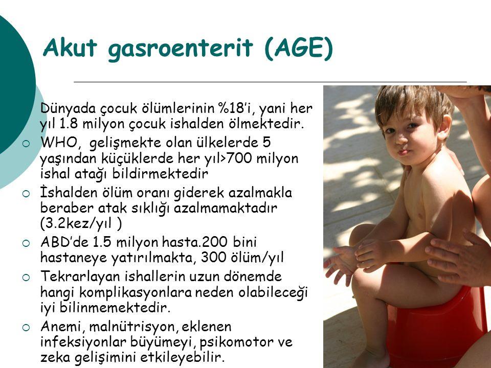 Akut gasroenterit (AGE)  Dünyada çocuk ölümlerinin %18'i, yani her yıl 1.8 milyon çocuk ishalden ölmektedir.  WHO, gelişmekte olan ülkelerde 5 yaşın
