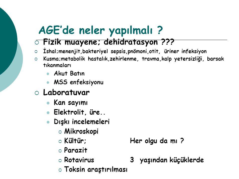 AGE'de neler yapılmalı ?  Fizik muayene; dehidratasyon ???  İshal;menenjit,bakteriyel sepsis,pnömoni,otit, üriner infeksiyon  Kusma;metabolik hasta