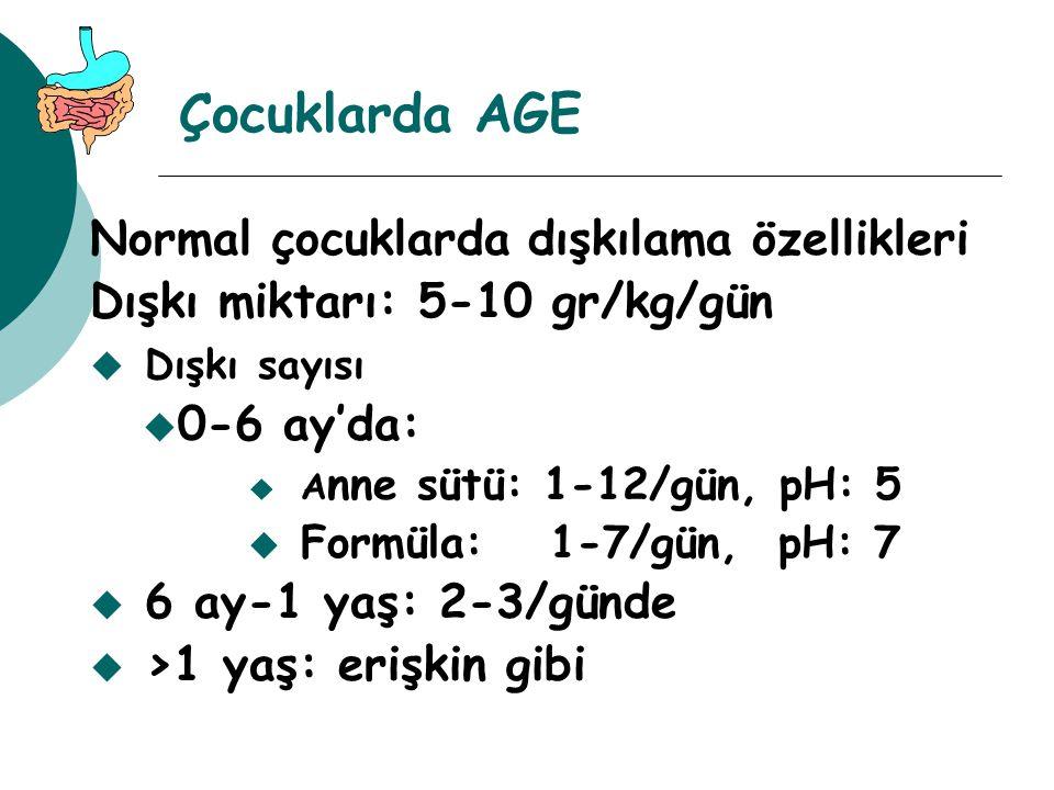 Çocuklarda AGE Normal çocuklarda dışkılama özellikleri Dışkı miktarı: 5-10 gr/kg/gün u Dışkı sayısı u 0-6 ay'da: u A nne sütü: 1-12/gün, pH: 5 u Formü