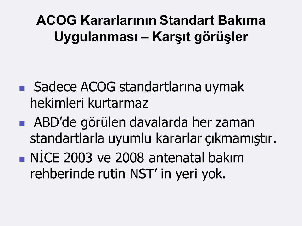 ACOG Kararlarının Standart Bakıma Uygulanması – Karşıt görüşler Sadece ACOG standartlarına uymak hekimleri kurtarmaz ABD'de görülen davalarda her zaman standartlarla uyumlu kararlar çıkmamıştır.