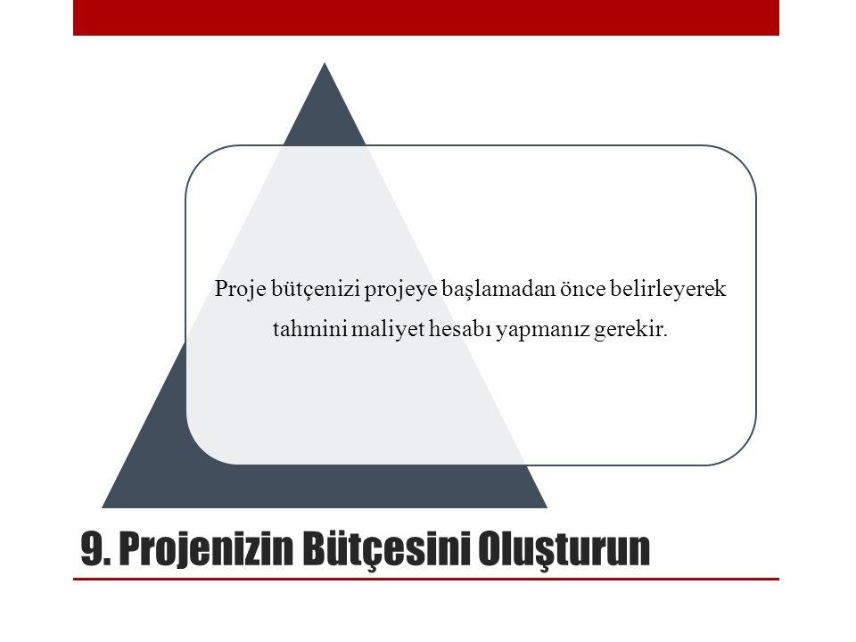 9. Projenizin Bütçesini Oluşturun Proje bütçenizi projeye başlamadan önce belirleyerek tahmini maliyet hesabı yapmanız gerekir.