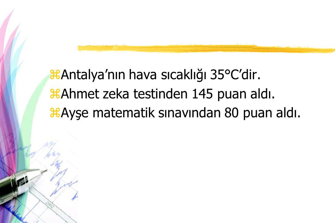 zAntalya'nın hava sıcaklığı 35°C'dir. zAhmet zeka testinden 145 puan aldı. zAyşe matematik sınavından 80 puan aldı.