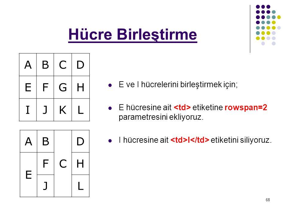 68 Hücre Birleştirme E ve I hücrelerini birleştirmek için; E hücresine ait etiketine rowspan=2 parametresini ekliyoruz.