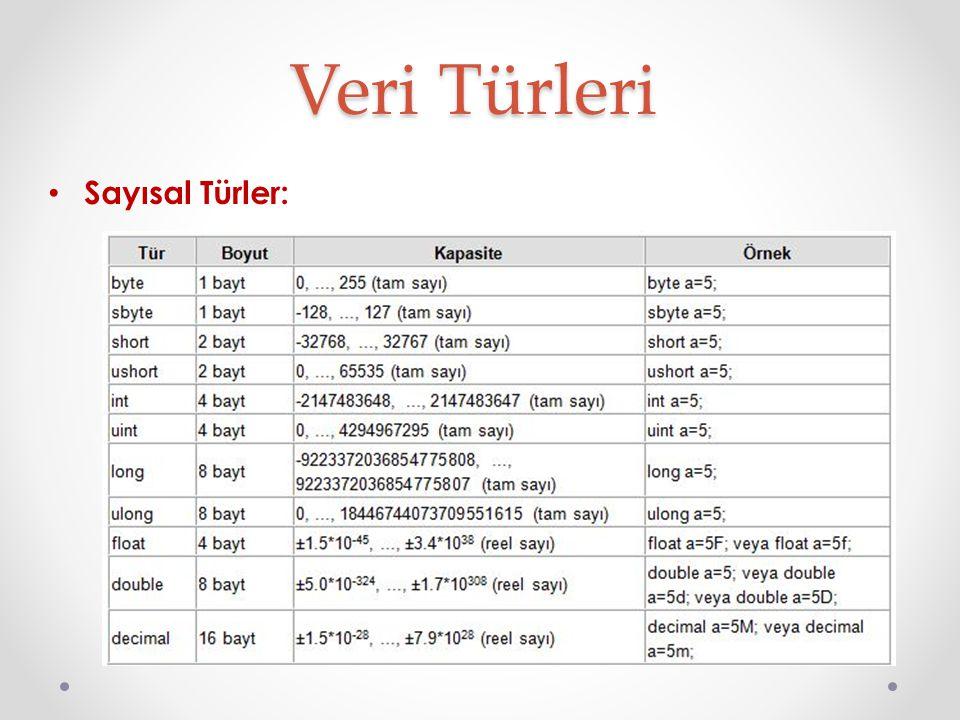 Metin Türleri: