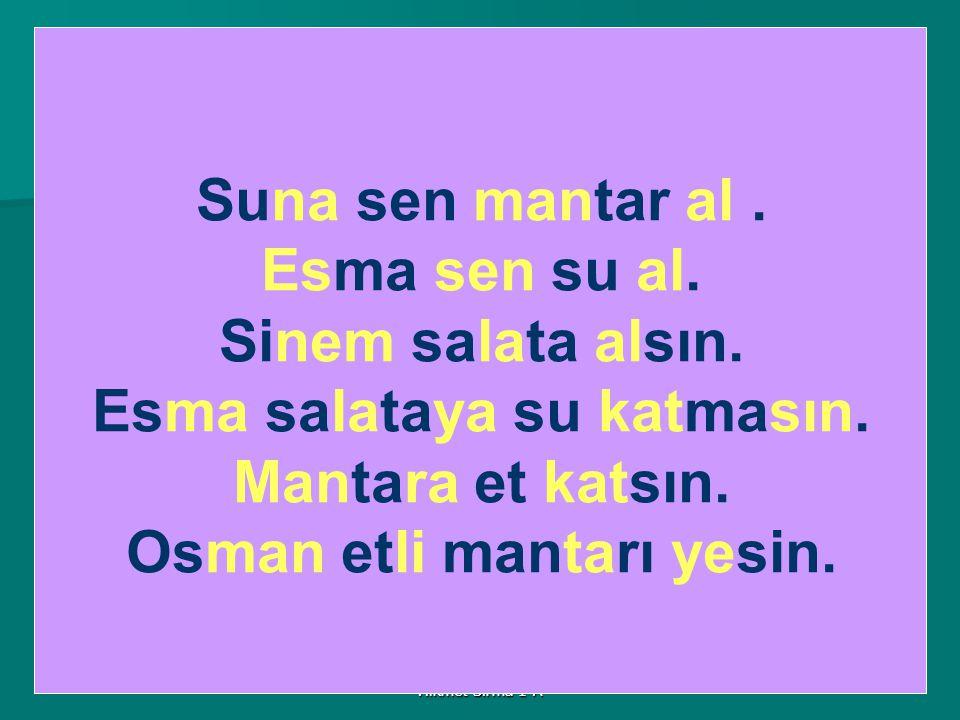 Hikmet Sırma 1-A Suna sen mantar al. Esma sen su al. Sinem salata alsın. Esma salataya su katmasın. Mantara et katsın. Osman etli mantarı yesin.
