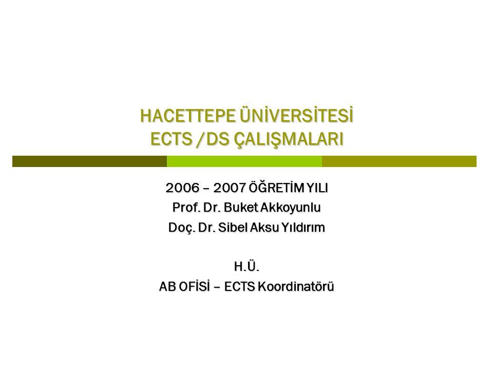 HACETTEPE ÜNİVERSİTESİ ECTS /DS ÇALIŞMALARI 2006 – 2007 ÖĞRETİM YILI Prof.