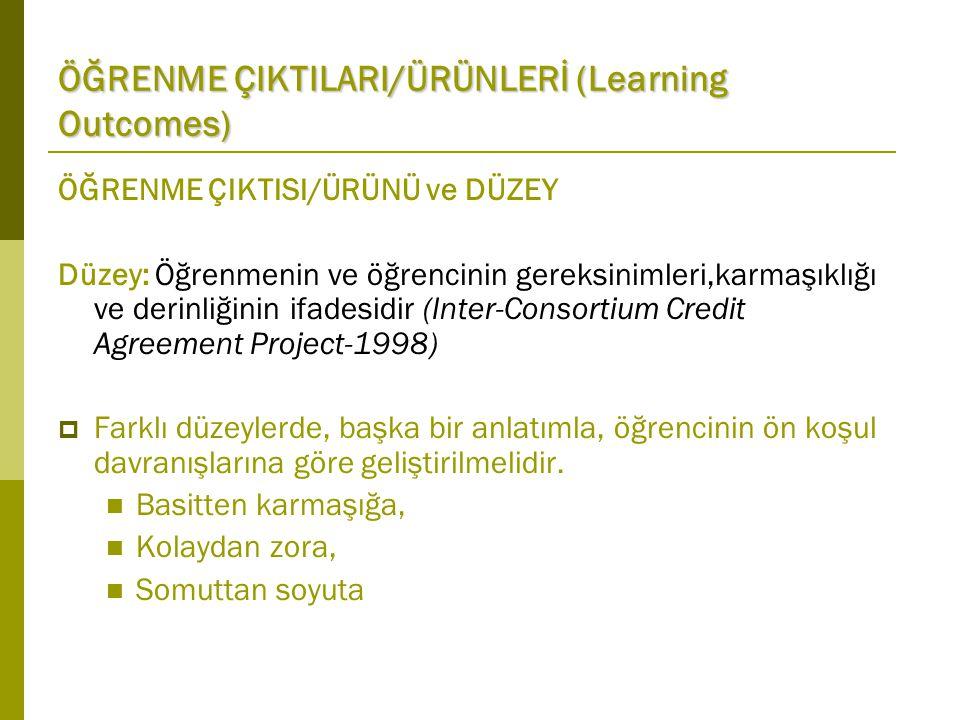 ÖĞRENME ÇIKTISI/ÜRÜNÜ ve DÜZEY Düzey: Öğrenmenin ve öğrencinin gereksinimleri,karmaşıklığı ve derinliğinin ifadesidir (Inter-Consortium Credit Agreement Project-1998)  Farklı düzeylerde, başka bir anlatımla, öğrencinin ön koşul davranışlarına göre geliştirilmelidir.