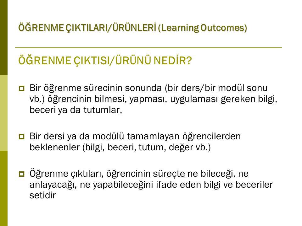 ÖĞRENME ÇIKTILARI/ÜRÜNLERİ (Learning Outcomes) Yazarken (4): Öğrenme çıktılarını belirledikten sonra  Öğrenme - öğretme yöntemini seçin.