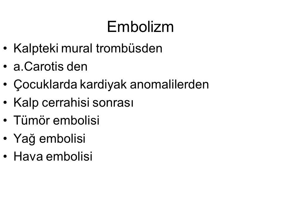Embolizm Kalpteki mural trombüsden a.Carotis den Çocuklarda kardiyak anomalilerden Kalp cerrahisi sonrası Tümör embolisi Yağ embolisi Hava embolisi