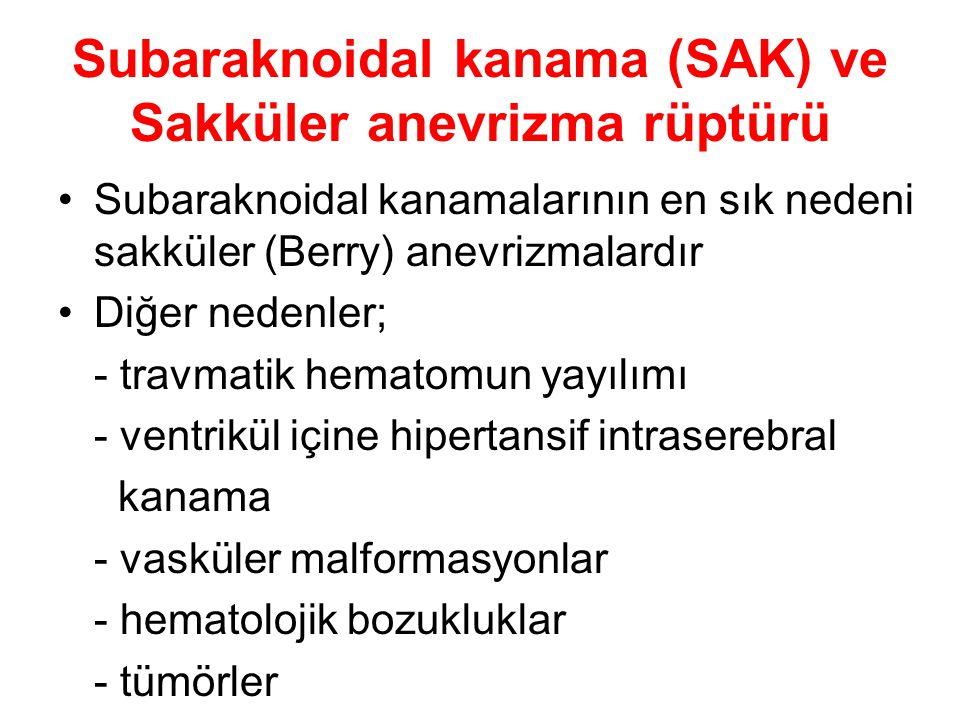 Subaraknoidal kanama (SAK) ve Sakküler anevrizma rüptürü Subaraknoidal kanamalarının en sık nedeni sakküler (Berry) anevrizmalardır Diğer nedenler; -