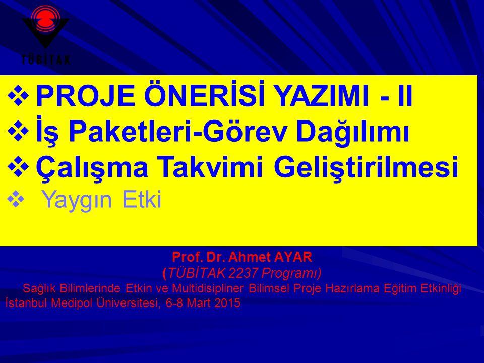  PROJE ÖNERİSİ YAZIMI - II  İş Paketleri-Görev Dağılımı  Çalışma Takvimi Geliştirilmesi  Yaygın Etki Prof. Dr. Ahmet AYAR (TÜBİTAK 2237 Programı)