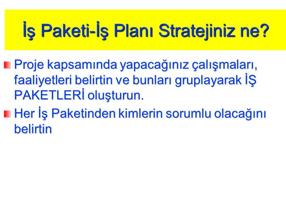 İş Paketi-İş Planı Stratejiniz ne? Proje kapsamında yapacağınız çalışmaları, faaliyetleri belirtin ve bunları gruplayarak İŞ PAKETLERİ oluşturun. Her