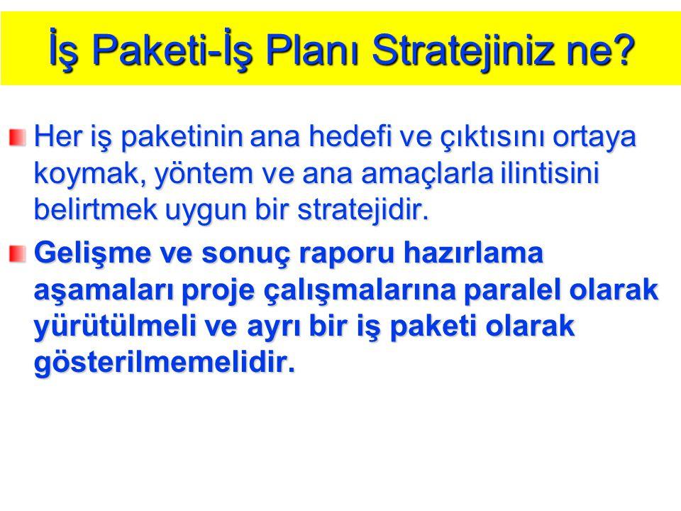 İş Paketi-İş Planı Stratejiniz ne? Her iş paketinin ana hedefi ve çıktısını ortaya koymak, yöntem ve ana amaçlarla ilintisini belirtmek uygun bir stra