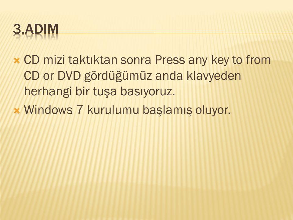  CD mizi taktıktan sonra Press any key to from CD or DVD gördüğümüz anda klavyeden herhangi bir tuşa basıyoruz.