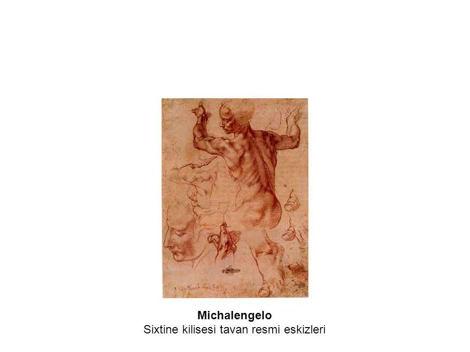 Michalengelo Sixtine kilisesi tavan resmi eskizleri