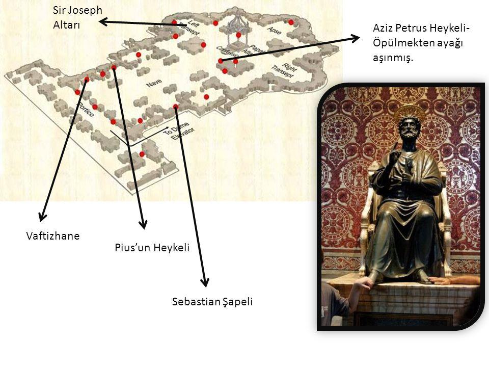 Aziz Petrus Heykeli- Öpülmekten ayağı aşınmış. Vaftizhane Sir Joseph Altarı Pius'un Heykeli Sebastian Şapeli
