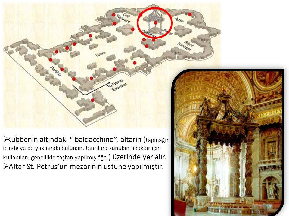 """ Kubbenin altındaki """" baldacchino"""", altarın ( tapınağın içinde ya da yakınında bulunan, tanrılara sunulan adaklar için kullanılan, genellikle taştan"""