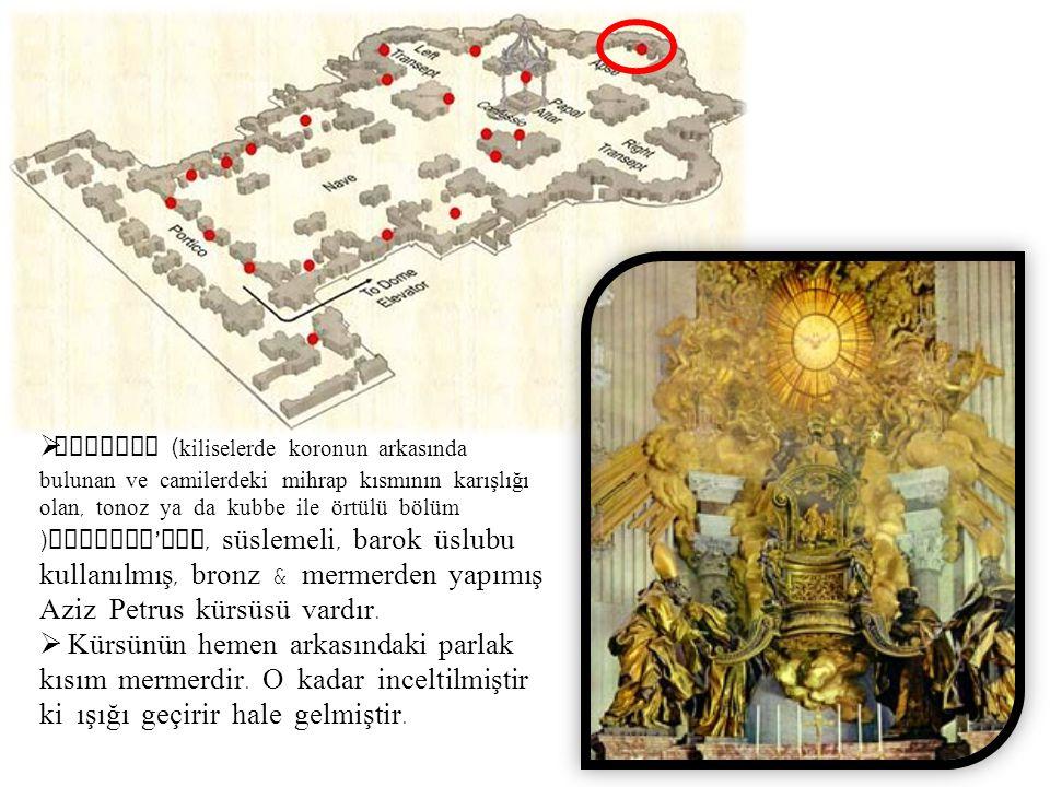  Absidte ( kiliselerde koronun arkasında bulunan ve camilerdeki mihrap kısmının karışlığı olan, tonoz ya da kubbe ile örtülü bölüm ) Bernini ' nin, s