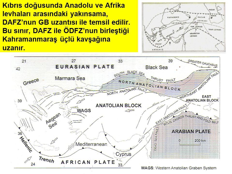 Kıbrıs doğusunda Anadolu ve Afrika levhaları arasındaki yakınsama, DAFZ'nun GB uzantısı ile temsil edilir.