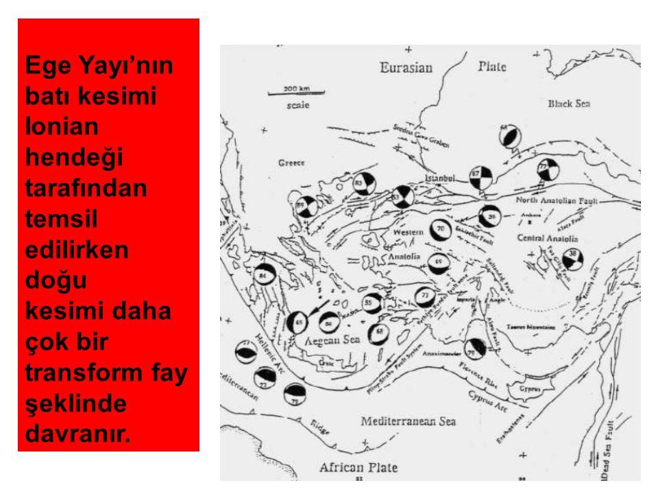 Ege Yayı'nın batı kesimi Ionian hendeği tarafından temsil edilirken doğu kesimi daha çok bir transform fay şeklinde davranır.